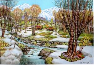 絵画「晩春の雪」
